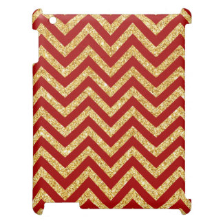 Red Gold Glitter Zigzag Stripes Chevron Pattern Cover For The iPad
