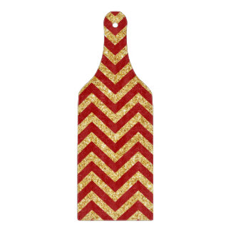 Red Gold Glitter Zigzag Stripes Chevron Pattern Cutting Board