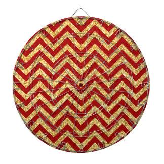 Red Gold Glitter Zigzag Stripes Chevron Pattern Dartboard