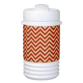 Red Gold Glitter Zigzag Stripes Chevron Pattern Drinks Cooler