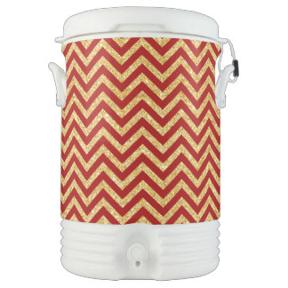 Red Gold Glitter Zigzag Stripes Chevron Pattern Drinks Cooler