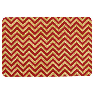 Red Gold Glitter Zigzag Stripes Chevron Pattern Floor Mat