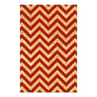 Red Gold Glitter Zigzag Stripes Chevron Pattern Flyer