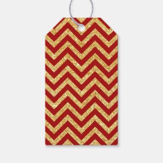 Red Gold Glitter Zigzag Stripes Chevron Pattern Gift Tags