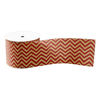 Red Gold Glitter Zigzag Stripes Chevron Pattern Grosgrain Ribbon