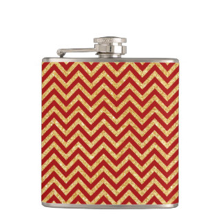 Red Gold Glitter Zigzag Stripes Chevron Pattern Hip Flask