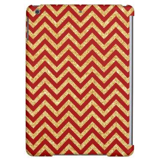 Red Gold Glitter Zigzag Stripes Chevron Pattern iPad Air Case