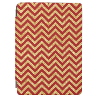 Red Gold Glitter Zigzag Stripes Chevron Pattern iPad Air Cover