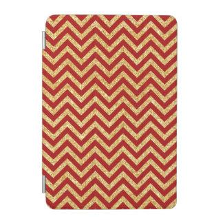 Red Gold Glitter Zigzag Stripes Chevron Pattern iPad Mini Cover
