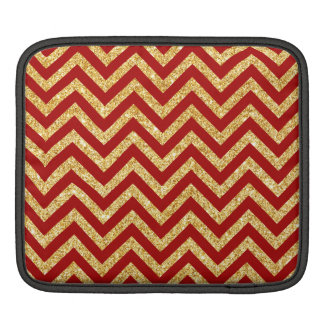 Red Gold Glitter Zigzag Stripes Chevron Pattern iPad Sleeve