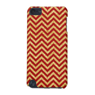 Red Gold Glitter Zigzag Stripes Chevron Pattern iPod Touch (5th Generation) Cover