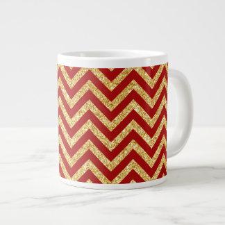 Red Gold Glitter Zigzag Stripes Chevron Pattern Large Coffee Mug