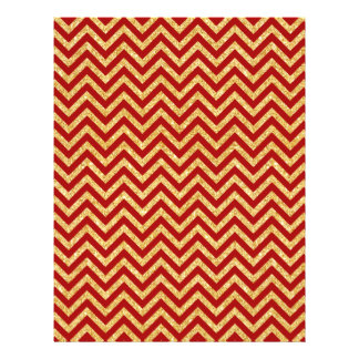 Red Gold Glitter Zigzag Stripes Chevron Pattern Letterhead