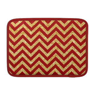 Red Gold Glitter Zigzag Stripes Chevron Pattern MacBook Sleeve