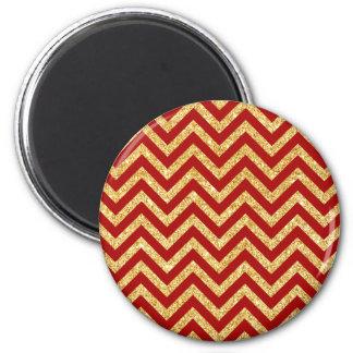Red Gold Glitter Zigzag Stripes Chevron Pattern Magnet