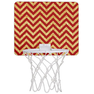 Red Gold Glitter Zigzag Stripes Chevron Pattern Mini Basketball Hoop