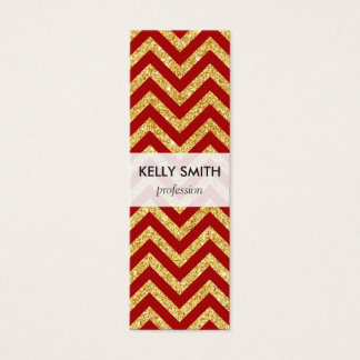 Red Gold Glitter Zigzag Stripes Chevron Pattern Mini Business Card