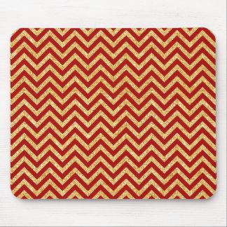 Red Gold Glitter Zigzag Stripes Chevron Pattern Mouse Pad
