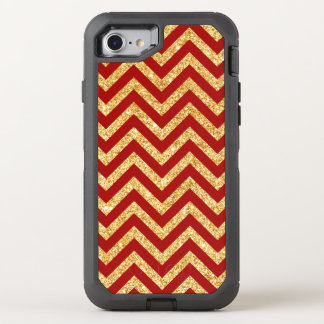 Red Gold Glitter Zigzag Stripes Chevron Pattern OtterBox Defender iPhone 8/7 Case