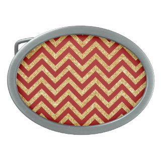 Red Gold Glitter Zigzag Stripes Chevron Pattern Oval Belt Buckles