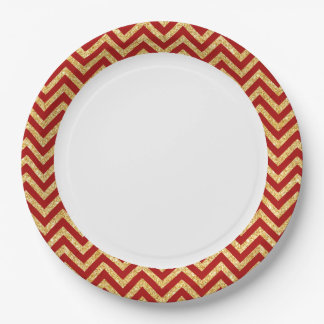 Red Gold Glitter Zigzag Stripes Chevron Pattern Paper Plate