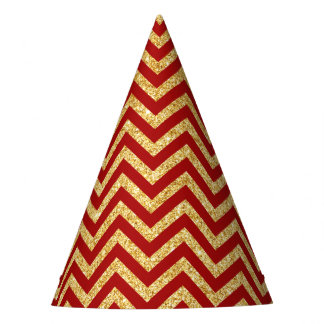 Red Gold Glitter Zigzag Stripes Chevron Pattern Party Hat
