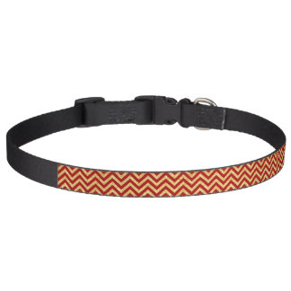 Red Gold Glitter Zigzag Stripes Chevron Pattern Pet Collar