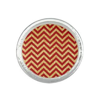 Red Gold Glitter Zigzag Stripes Chevron Pattern Photo Ring