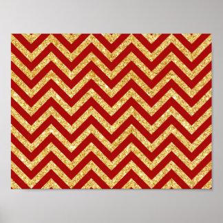 Red Gold Glitter Zigzag Stripes Chevron Pattern Poster