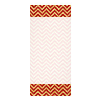 Red Gold Glitter Zigzag Stripes Chevron Pattern Rack Card