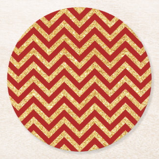 Red Gold Glitter Zigzag Stripes Chevron Pattern Round Paper Coaster