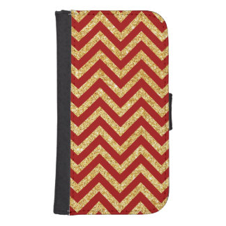 Red Gold Glitter Zigzag Stripes Chevron Pattern Samsung S4 Wallet Case