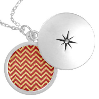 Red Gold Glitter Zigzag Stripes Chevron Pattern Silver Plated Necklace