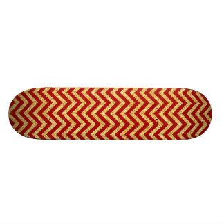 Red Gold Glitter Zigzag Stripes Chevron Pattern Skate Board