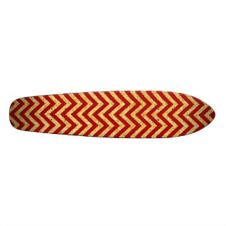 Red Gold Glitter Zigzag Stripes Chevron Pattern Skate Deck