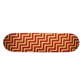 Red Gold Glitter Zigzag Stripes Chevron Pattern Skate Decks
