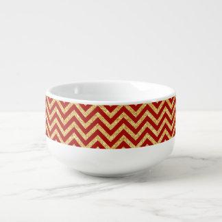Red Gold Glitter Zigzag Stripes Chevron Pattern Soup Mug