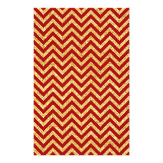 Red Gold Glitter Zigzag Stripes Chevron Pattern Stationery