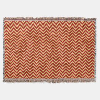 Red Gold Glitter Zigzag Stripes Chevron Pattern Throw Blanket