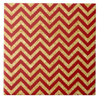 Red Gold Glitter Zigzag Stripes Chevron Pattern Tile