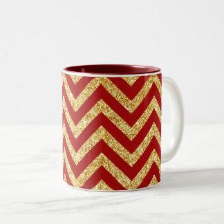 Red Gold Glitter Zigzag Stripes Chevron Pattern Two-Tone Coffee Mug
