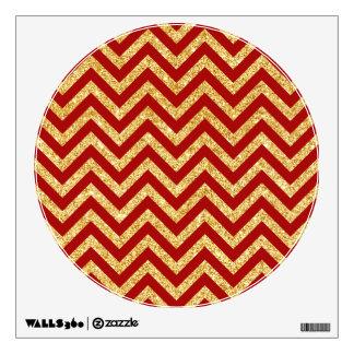 Red Gold Glitter Zigzag Stripes Chevron Pattern Wall Decal