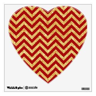 Red Gold Glitter Zigzag Stripes Chevron Pattern Wall Sticker