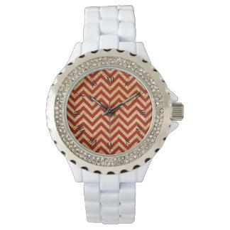 Red Gold Glitter Zigzag Stripes Chevron Pattern Watch
