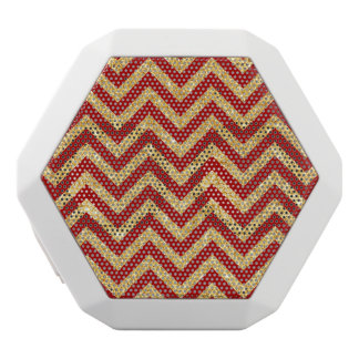 Red Gold Glitter Zigzag Stripes Chevron Pattern White Bluetooth Speaker