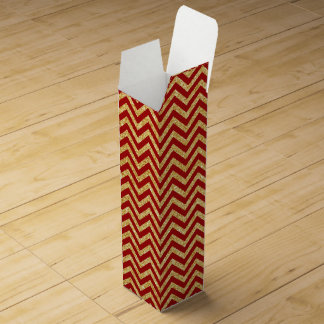 Red Gold Glitter Zigzag Stripes Chevron Pattern Wine Box