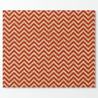 Red Gold Glitter Zigzag Stripes Chevron Pattern Wrapping Paper
