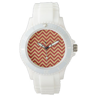 Red Gold Glitter Zigzag Stripes Chevron Pattern Wrist Watch