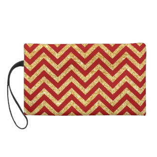Red Gold Glitter Zigzag Stripes Chevron Pattern Wristlet