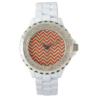 Red Gold Glitter Zigzag Stripes Chevron Pattern Wristwatch